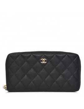 Chanel Caviar Quilted Large Gusset Zip Around Wallet Navy by Chanel