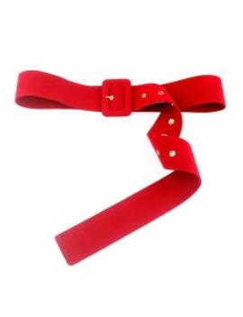 Fleece Rectangle Buckle Dress Belt   Red by Zaful
