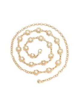 Floral Faux Pearl Decoration Thin Waist Chain   Silk White by Zaful