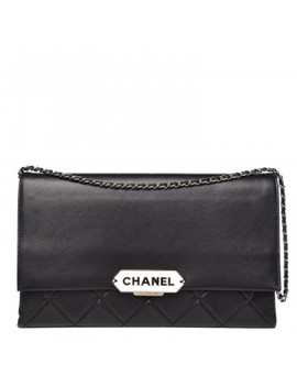 Chanel Lambskin Quilted Retro Label Clutch Black by Chanel