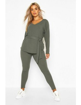 Plus Soft Rib Tie Waist Top & Legging Co Ord by Boohoo