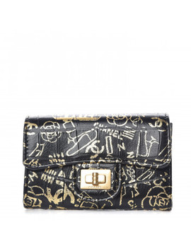Chanel Crocodile Embossed Calfskin Graffiti Cocodile Reissue Card Holder Wallet Black Gold by Chanel