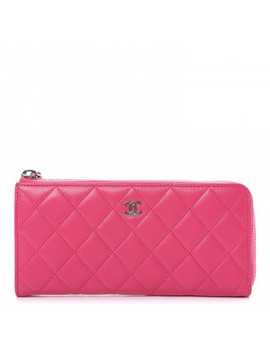 Chanel Lambskin Quilted Zip Around Wallet Fuchsia by Chanel