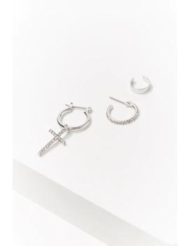 Rhinestone Hoop & Cuff Earring Set by Forever 21