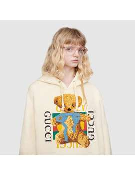 Oversize Sweatshirt With Gucci Logo And Teddy Bear   by Gucci
