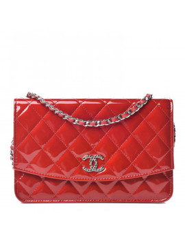 Chanel Patent Quilted Brilliant Wallet On Chain Woc Red by Chanel