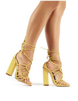 Camila Yellow Faux Suede Lace Up Block Heels by Public Desire