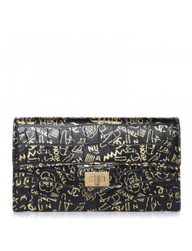 Chanel Crocodile Embossed Calfskin Graffiti 2.55 Cocodile Reissue Long Flap Black Gold by Chanel