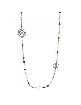 Chanel Pearl Crystal Camellia Cc Long Necklace Silver by Chanel