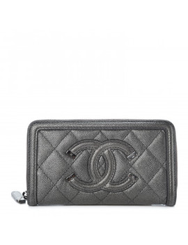 Chanel Metallic Caviar Quilted Medium Filigree Zip Around Wallet Dark Silver by Chanel