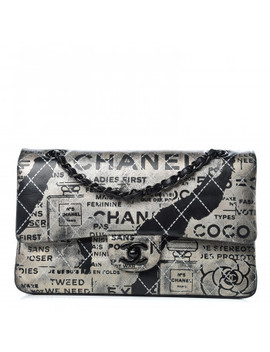 Chanel Lambskin Timeless Classic Painted Medium Double Flap Silver Black by Chanel