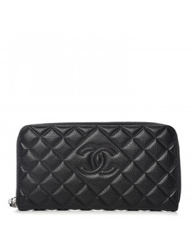 Chanel Caviar Quilted Diamond Cc Gusset Zip Around Wallet Black by Chanel