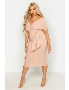 Plus Bardot Wrap Front Belted Midi Dress by Boohoo