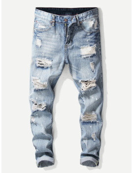 Guys Destroyed Plain Jeans by Romwe