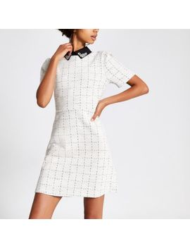 Cream Boucle Embellished Collar Mini Dress by River Island
