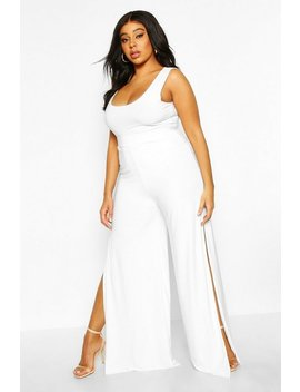 Plus Slinky Palazzo Split Trousers by Boohoo