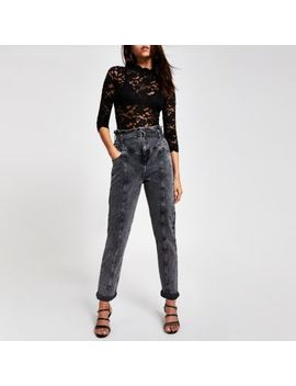 Black Lace Scallop Top by River Island