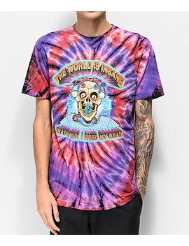 Teenage Fried My Brain Purple, Red &Amp; Black Tie Dye T Shirt by Teenage