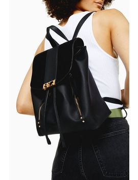 Burst Black Pu Backpack by Topshop