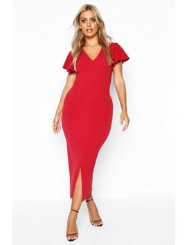 Plus Plunge Ruffle Split Front Midi Dress by Boohoo