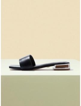 Susan Flat Slides Black by Lagrazia