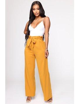 Teach Me High Rise Flare Pants   Mustard by Fashion Nova
