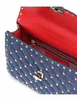 Valentino Garavani Medium Rockstud Spike Denim Shoulder Bag by Valentino
