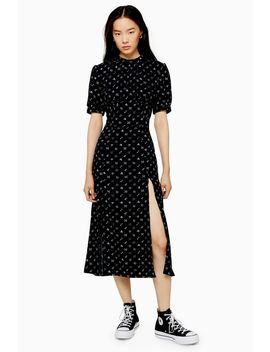 Black Conversational Print Midi Dress by Topshop