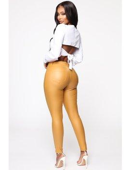 Not Sorry High Rise Pants   Mustard by Fashion Nova