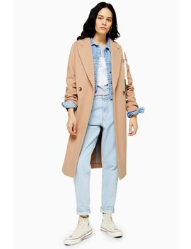 Camel Double Breasted Coat by Topshop