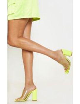Neon Lime Paint Splash Clear Block Heel Mule by Prettylittlething