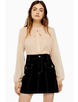 Pleated Neck Blouse by Topshop