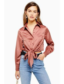 Petite Satin Tie Front Shirt by Topshop