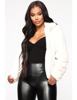 Soft Touch Faux Fur Jacket   Cream by Fashion Nova