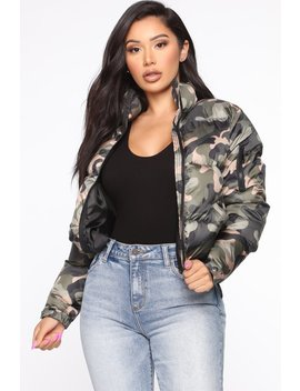Surviving The Cold Puffer Jacket   Camouflage by Fashion Nova