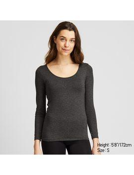 Women Heattech Bra Scoop Neck Long Sleeve T Shirt by Uniqlo