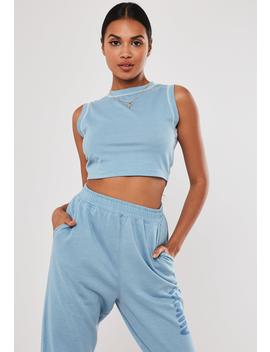 Blue Sleeveless Crop Tank Top by Missguided