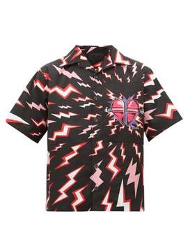 Lightning Print Heart Patch Shirt by Prada