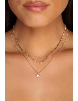 Dainty Rhinestone Drop Necklace by Windsor