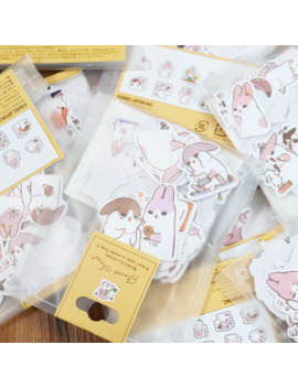 40pcs/Set Cute Diary Stationery Stickers Pack Chubby Rabbit Series Scrapbooking Sticky Escolar School Supplies by Ali Express.Com