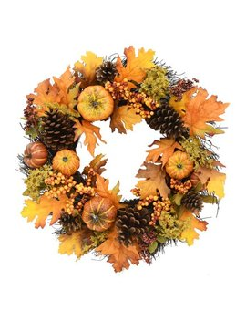 Way To Celebrate Harvest Pumpkin And Berry Wreath by Harvest