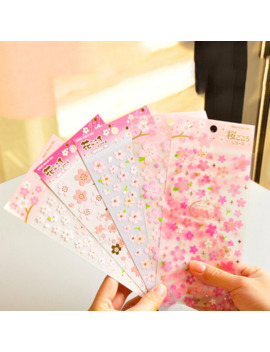 1 Sheet Sakura Oriental Cherry Blossom Diary Decor Scrapbooking Paper Masking Sticker Memo Pad Stickers 150*110mm by Ali Express.Com