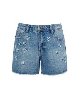 Blue Daisy Embroidered Shorts by Dorothy Perkins