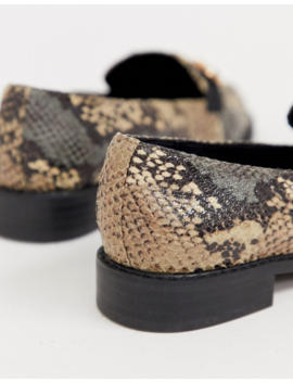 Asos Design Wide Fit Vapor Snaffle Loafer In Snake by Asos Design