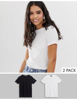 New Look – 2 Pack Vita Och Svarta T Shirtar Med Uppvikt ärm by New Look