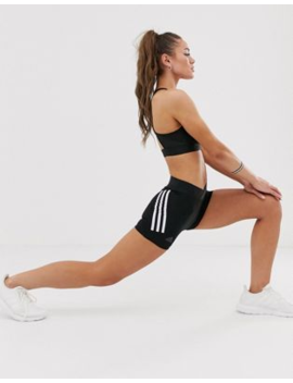 Adidas Training – Svarta Korta Shorts Med Tre Ränder by Adidas