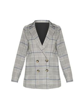 Grey Checked Button Woven Blazer  by Prettylittlething