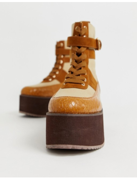 Asos Design Arlie Chunky Lace Up Boots In Brown Croc by Asos Design