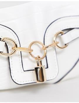 Asos Design Croc 90s Shoulder Bag With Padlock Detail by Asos Design