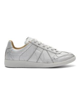 Silver Metallic Replica Sneakers by Maison Margiela